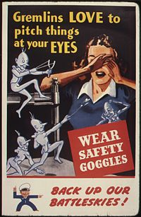 WWII poster of gremlins in the workplace